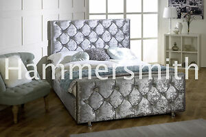 New-Double-Crushed-Velvet-Fabric-Chesterfield-Sleigh-bed-frame-all-sizes-colours