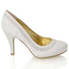 Womens Bridal Court Shoes Mid Low Heel Satin Diamante Ladies Wedding Slip On 3 8