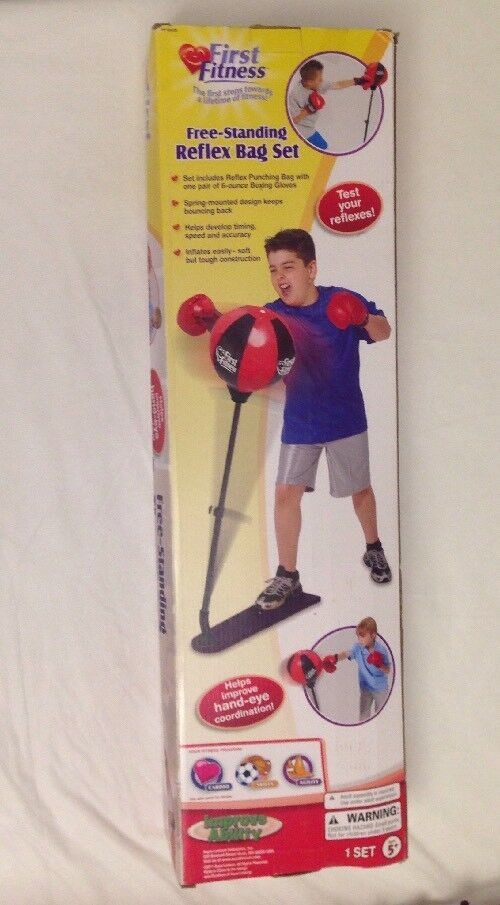 First Fitness Free-Standing Kids Reflex Pun  ng Bag Set W  Boxing G s New  online sale