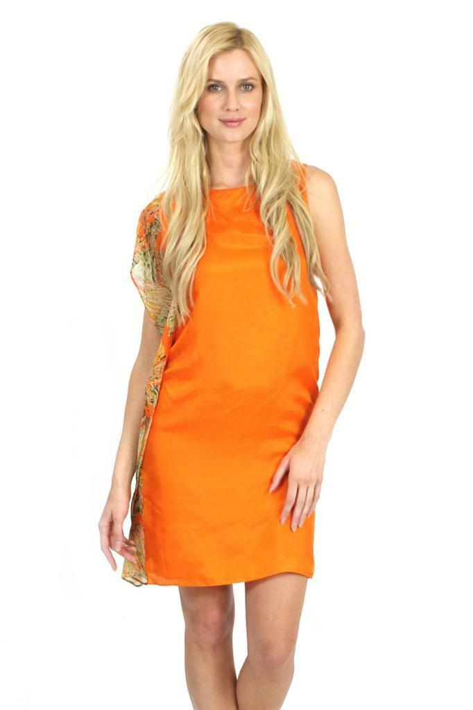 Mark and James Badgley Mischka Asymmetrical Fan Short Dress Tangerine Orange NEW