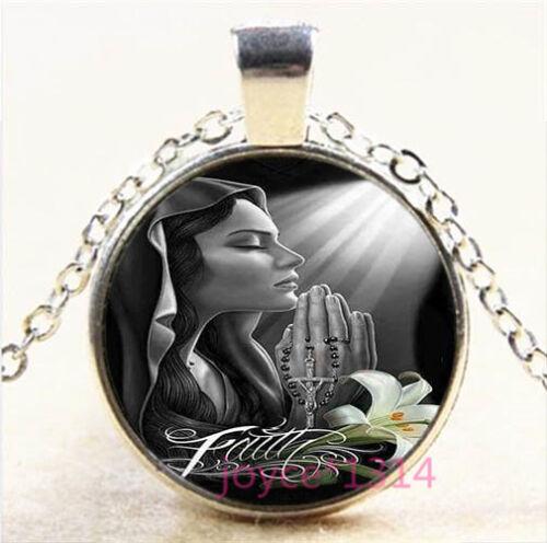 Saint Prayer Silver//Bronze//Black//Gold Glass Chain Pendant Necklace #6845