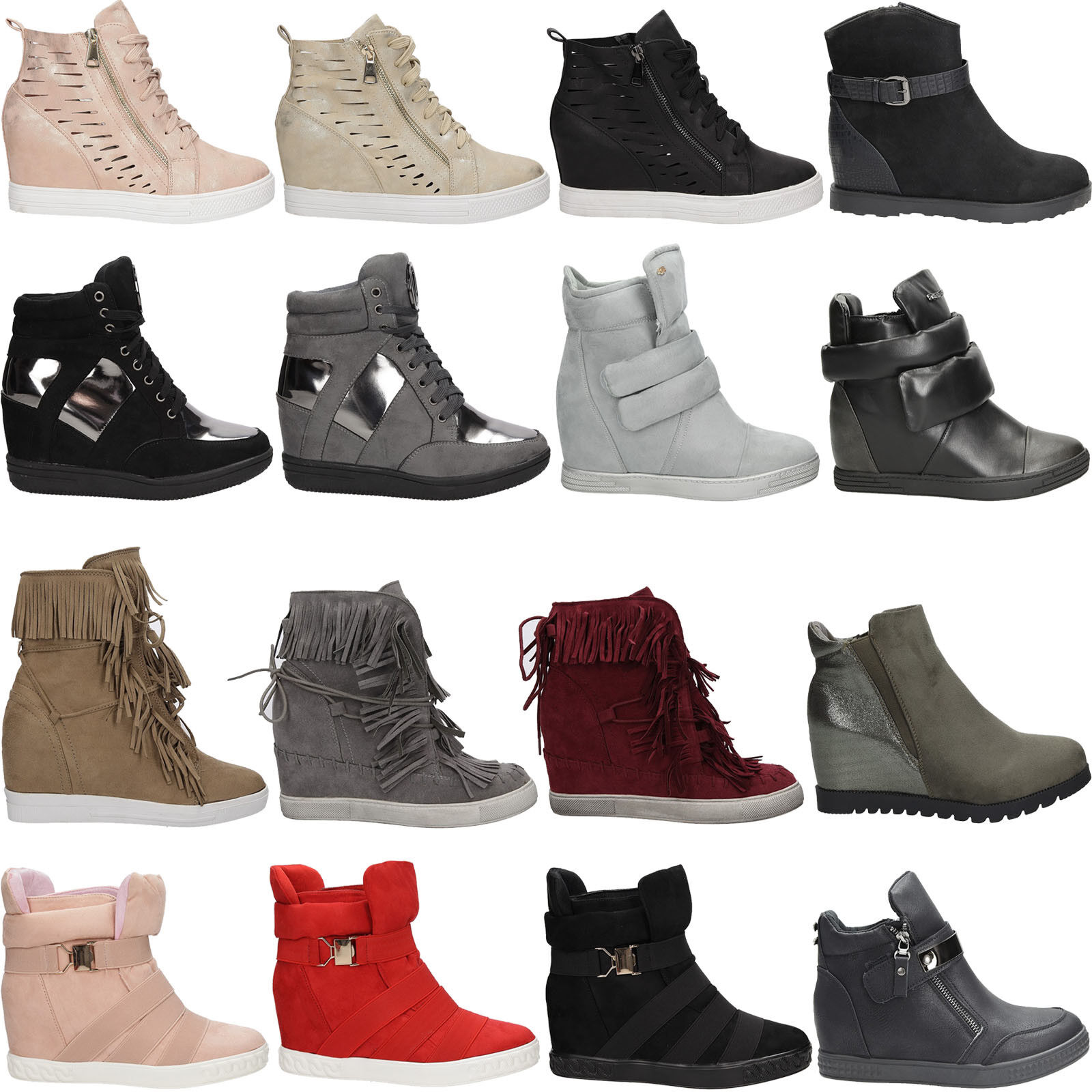 Damen Sneakers Keilabsatz Sport Schuhe Freizeit Frühling/Herbs<wbr/>t Gr. 36-41 NEU