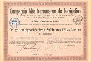 Compagnie-Mediterraneenne-de-Navigation-SA-obligacion-Lyon-1906