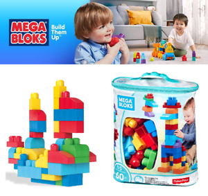Mega Bloks Classic Buildable Bag Baby First Builders Building Blocks Toys 60 PCS