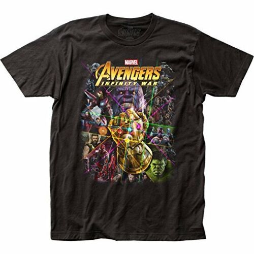 Marvel Comics Book Character Collage The Avengers Infinity War Tee Shirt Black