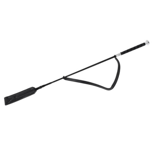 """25/"""" Riding Crop Whip with Fiberglass Shaft with Leather Slapper Black"""