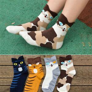 Femmes-Cartoon-animaux-raye-chaussettes-Cat-Footprint-coton-Short-chaussettes-I
