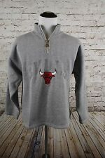 Vintage 90's Pro Player Chicago Bulls Quarter Zip Sweatshirt Size XL Sewn Gray