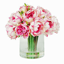 FLOWER ARRANGEMENTS - PINK PEONY WATER FLORAL - SILK FLORAL ARRANGEMENT