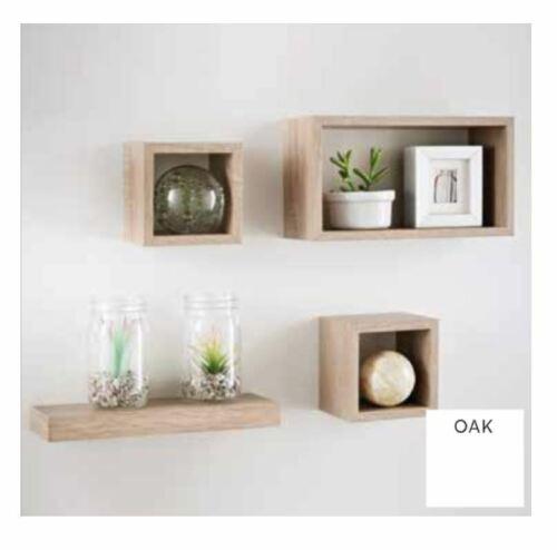 Set of 3 or 4 Floating Wall Shelves Storage Display Shelf White Black Grey Oak