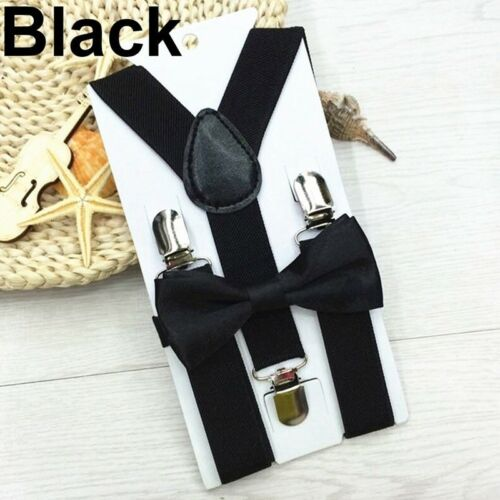 Toddler Clip-on Suspenders /& Bow Tie Child Clothes Elastic Adjustable Braces WH1