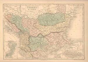 Details about 1850 ANTIQUE MAP-TURKEY IN EUROPE