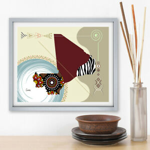 Art Mali Map Print Bamako West Africa Abstract Home Afrocentric Decor