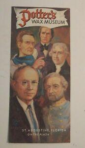 Vintage-Travel-Brochure-Potter-039-s-Wax-Museum-Augustine-Florida-1940-039-s-Advertising