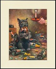 SCOTTISH TERRIER CAUSES MAYHEM TO CATCH RAT DOG PRINT MOUNTED READY TO FRAME