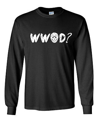 017 WWJD Crew Sweatshirt jason scary movie 80s camp crystal lake horror funny