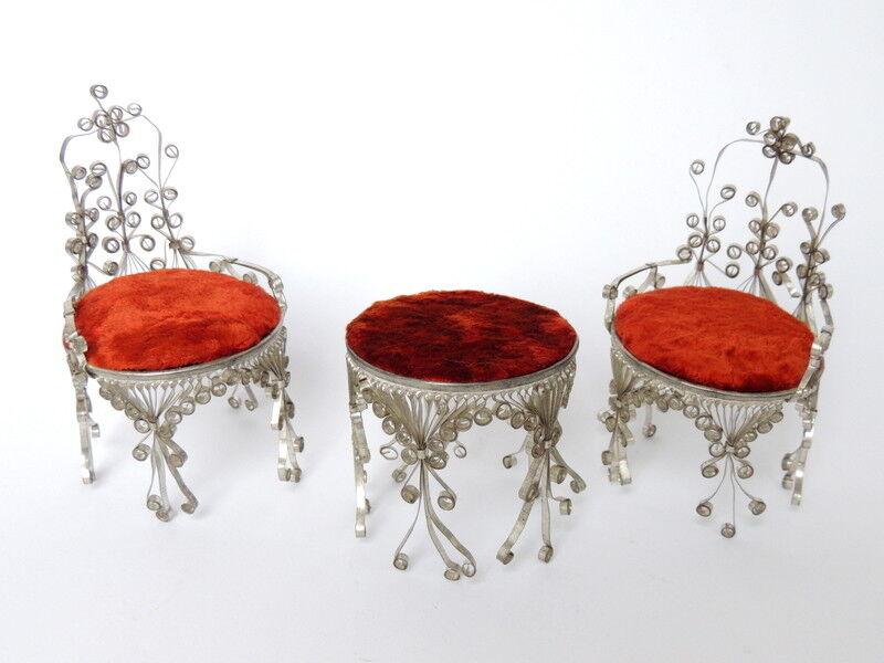Vintage Hefatto Soviet USSR Miniature bambolahouse Furniture Armchair Table  Signed  qualità di prima classe