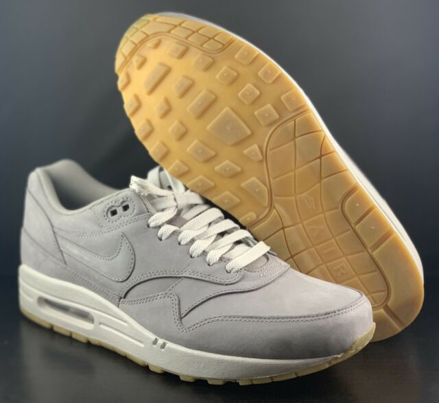 Nike Air Max 1 Leather Premium Ltr PRM Nubuck Medium Grey Neutral Gum 705282 005
