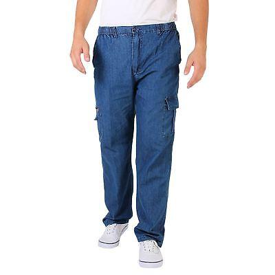 Unter Der Voraussetzung Mens Denim Combat Trousers Jeans Chinos Elasticated Waist Loose Cargo Work Pants Angenehm Zu Schmecken