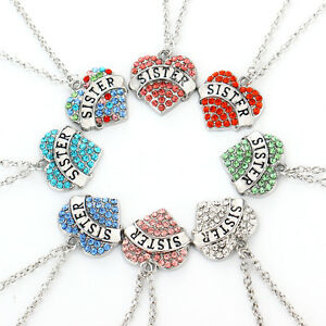Family silver pld crystal heart sister pendant necklace chain image is loading family silver pld crystal heart sister pendant necklace mozeypictures Image collections