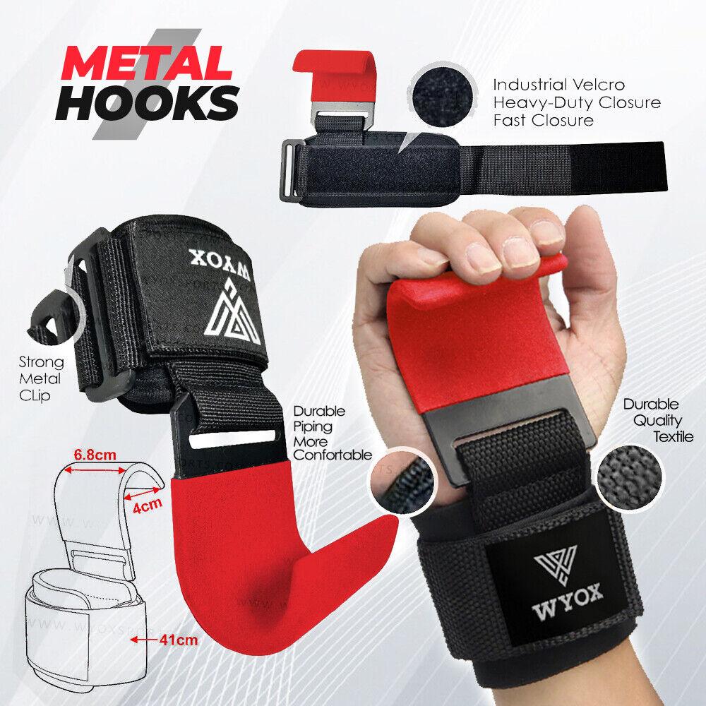 WYOX Weight Lifting Hook Straps Wrist Grips Bar Wrist Support Lift gym gloves