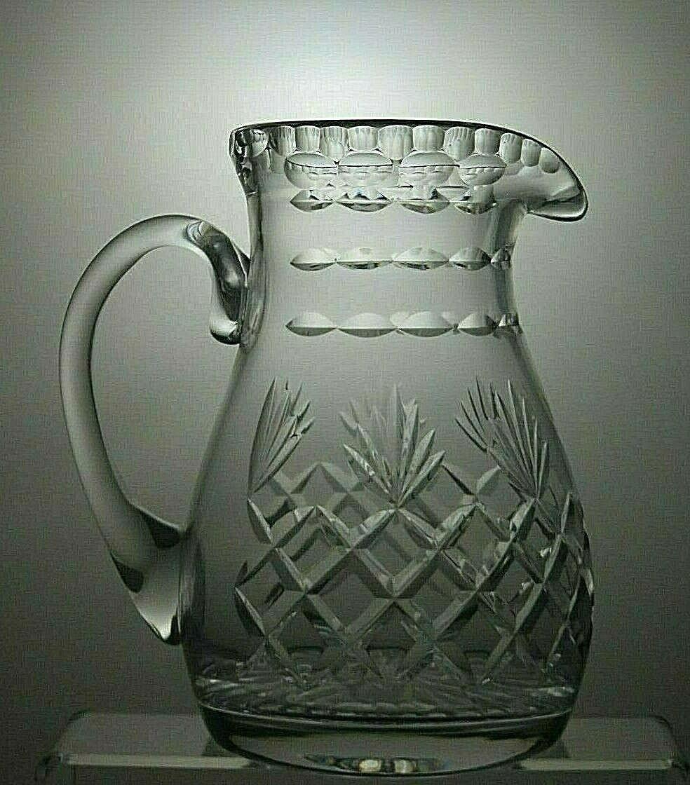 LEAD CRYSTAL CUT GLASS WATER JUG - 8 2 3  (22 cm) TALL
