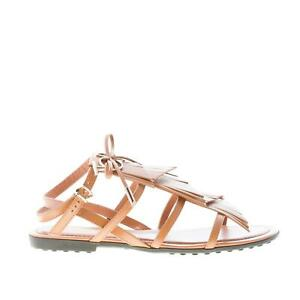 TOD-039-S-scarpe-donna-Sandalo-basso-in-pelle-cuoio-multi-frangia-e-logo-metallo