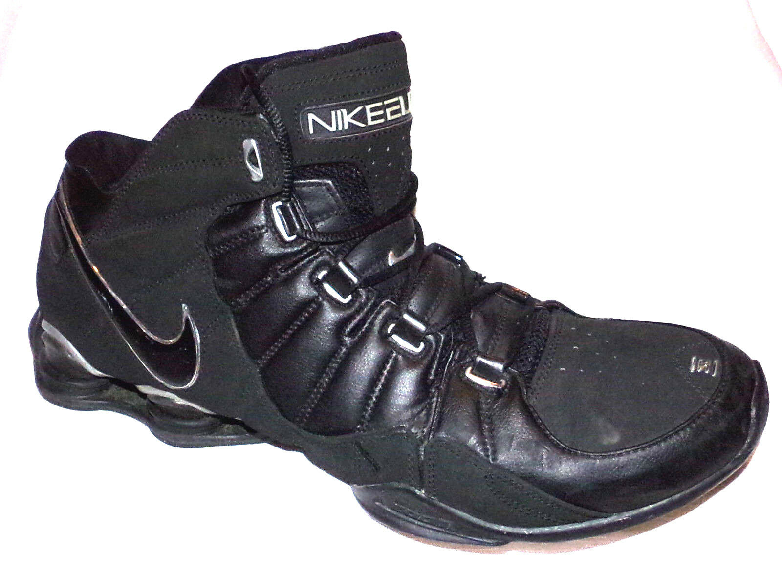 NIKE MENS ELITE FLIGHT SHOX BASKETBALL SHOES IN BLACK WITH 99% TREAD SIZE-13
