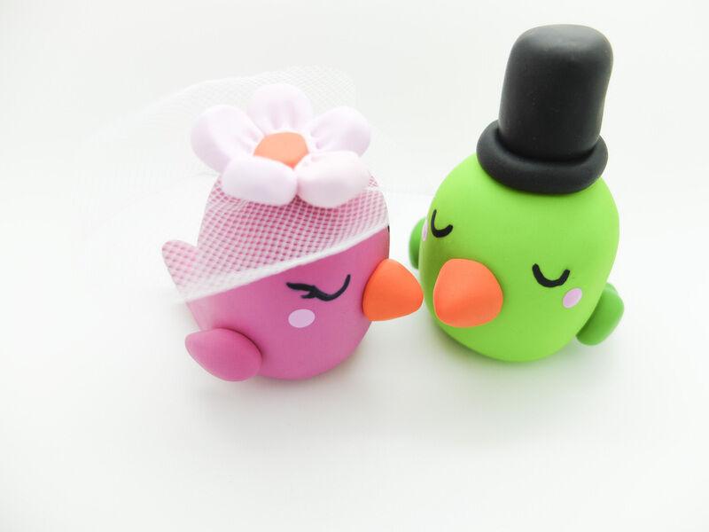 Figurines Jeunes Mariés Moineaux Pigeons Oiseau Mariage Paire Fait Main
