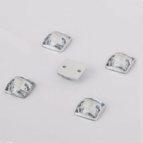 Square Shape  Lucency Crystal Stone 2 Holes Sew On Rhinestones 8*8mm