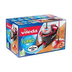 Vileda-leicht-wringen-und-saubere-Turbo-Microfaser-Mop-und-Eimer-Set-grau