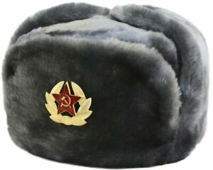 fef9df7a82e Image is loading Authentic-Russian-Ushanka-Gray-Military-Hat-Soviet-Red-
