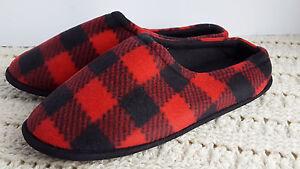 NWT-Men-039-s-Scuffs-Slippers-Red-Plaid-L-10-11