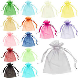 10-Organza-Bags-Jewellery-Pouches-Wedding-Favour-Party-Mesh-Drawstring-Gift-Cake