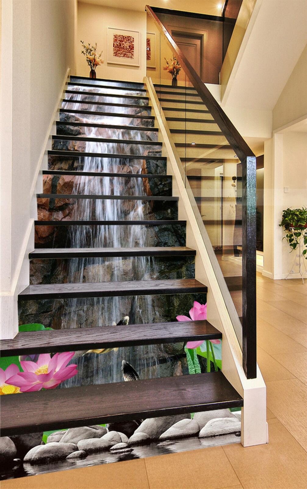 3D Fluss Lotos 254 Stair Risers Dekoration Fototapete Vinyl Aufkleber Tapete DE