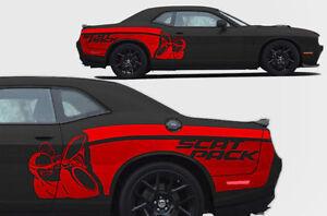 Vinyl Decal SCAT PACK SIDE STRIPE Wrap Kit fits Dodge Challenger 2015-2017 BLACK