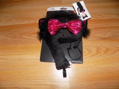 One Size Cat Accessory Kit Black Pink Ears Costume Headband Tail /& Bow Tie New