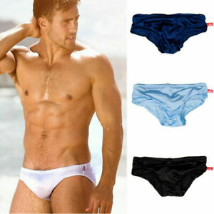 Men-039-s-Swim-Briefs-Low-Waist-Sexy-Underwear-Swimsuit-Beach-Shorts-Soild-Trunks