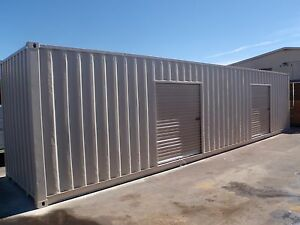 Portable Shipping Container Conex Storage building with two roll up
