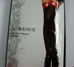 Leg-Avenue-Naughty-Nurse-Thigh-Highs-Stockings-Black-Halloween-Cosplay-One-Size