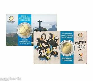 2-Euro-Gedenkmuenze-Sondermuenze-Belgien-2016-COINCARD-Olympische-Spiele-in-Rio