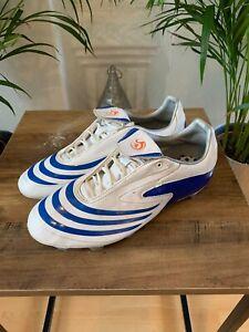 Adidas F10 TRX Terrain Souple 2008 Chaussures De Football Blanc Bleu Taille UK 7