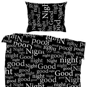Bettwäsche Gute Nacht Good Night Schwarz Weiß Mikrofaser 135 X 200