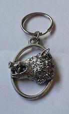 Fine English Pewter Wild Boar Head Keyring Key Chain Pig