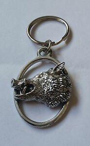 Pig Pewter Keyring in black organza gift pouch