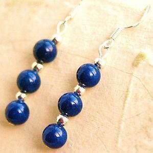 Lapis-Lazuli-Drop-Earrings-Sterling-Silver-Hooks-New-Gemstone-Pair-LB1