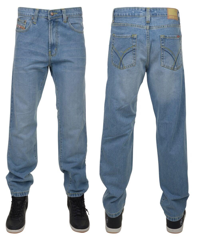 New Men's Boston Light bluee Vintage Faded Jeans Zip Fly Lightwash Denim Pants