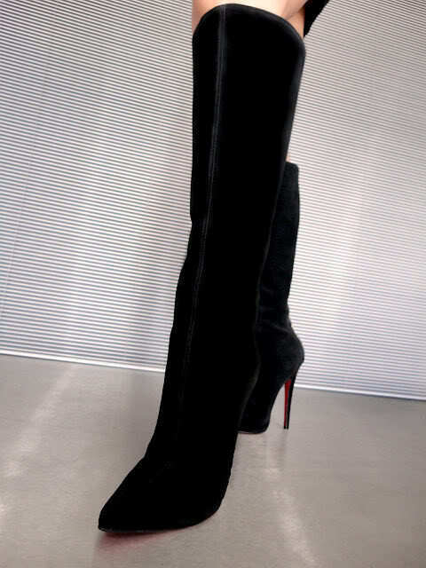 CQ COUTURE KNEE HIGH ZIP HEELS BOOTS BOOTS BOOTS STIEFEL STIVALI SUEDE LEATHER BLACK black 45 49e81f