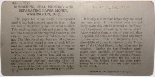 Keystone Stereoview Bureau of Engraving//Printing Education Set #94 A $1 Bills