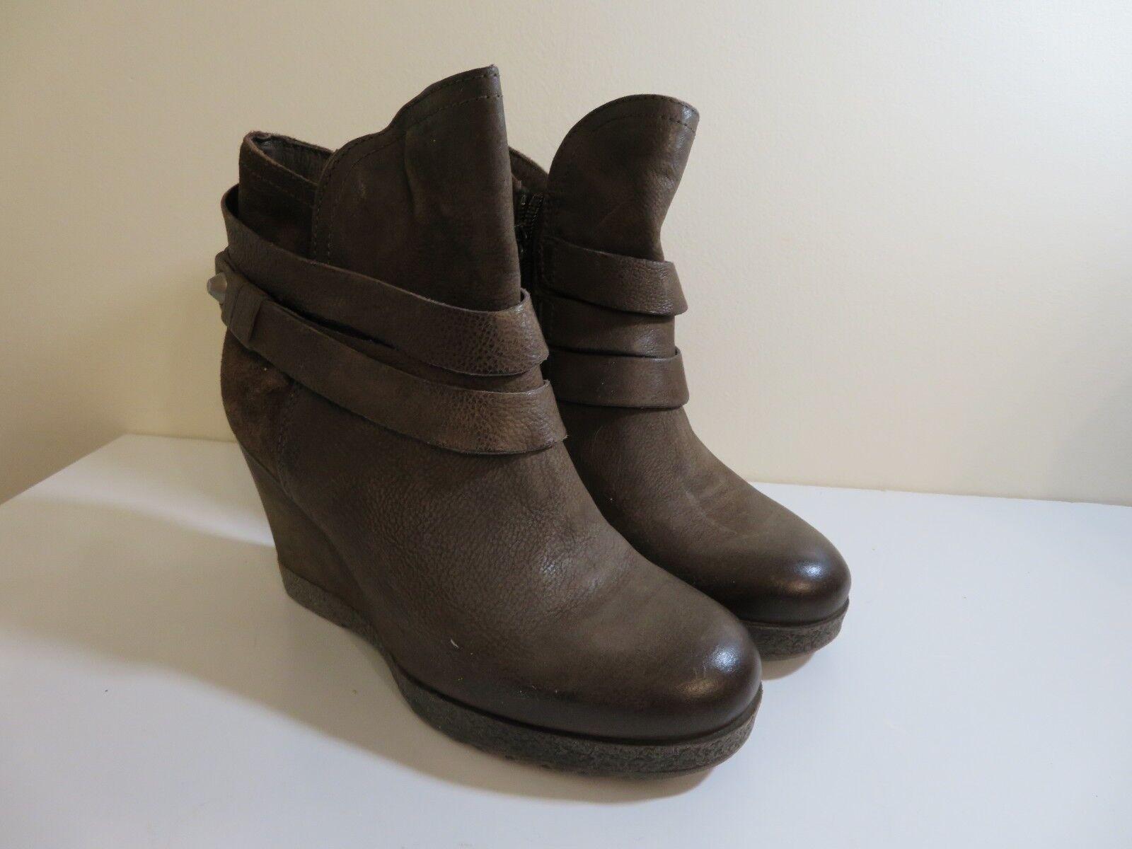 Miz Mooz Leder Wedge Ankle Stiefel Narcissa CHOCOLATE 36 FITS 5 1/2 TO 6
